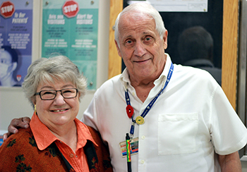 """Everyone who works on the Palliative ward at the Montreal General Hospital is so special and I thank them for the kind and excellent care they afforded Jim and the family,"" says Louise Niemi (with volunteer Ray Chiarella)."