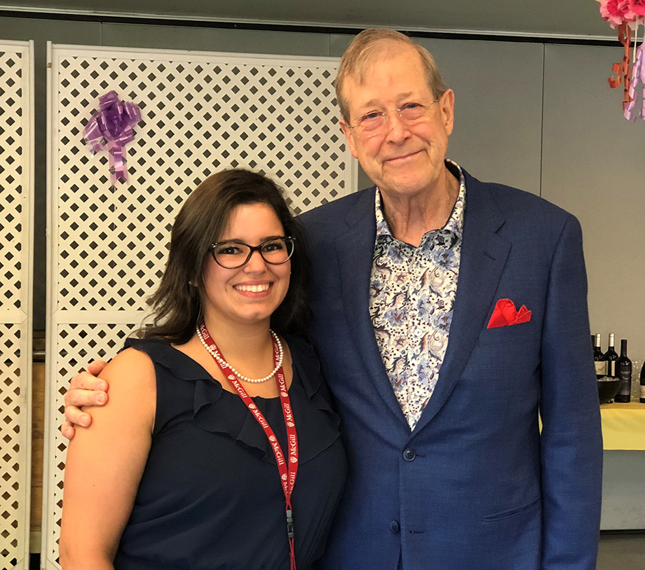 Amélia Joucdar, recipient of a scholarship from the MUHC's Nursing Small Grants Program for 2018, and Richard S. Ingram of the Newton Foundation, which supports university education in nursing in Montreal.
