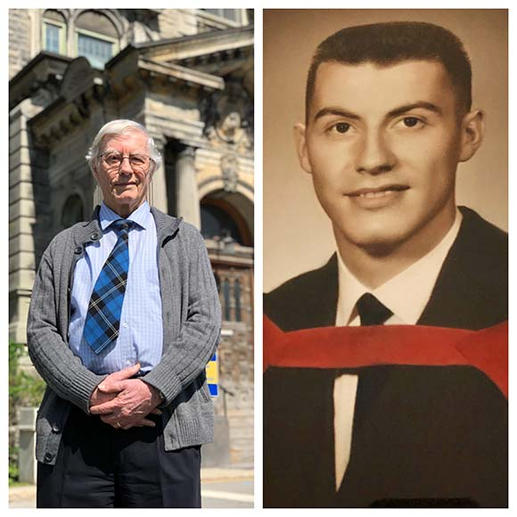 Dr. Alec Ramsay, today, and on graduation day from McGill University's Faculty of Medicine in the spring of 1962, at age 25.