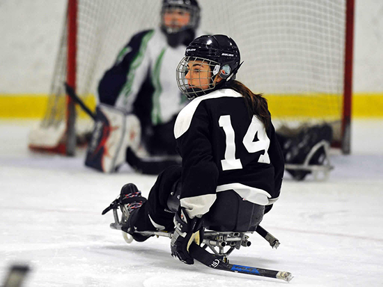 Raphaëlle on the ice while at a tournament in Brampton, Ontario