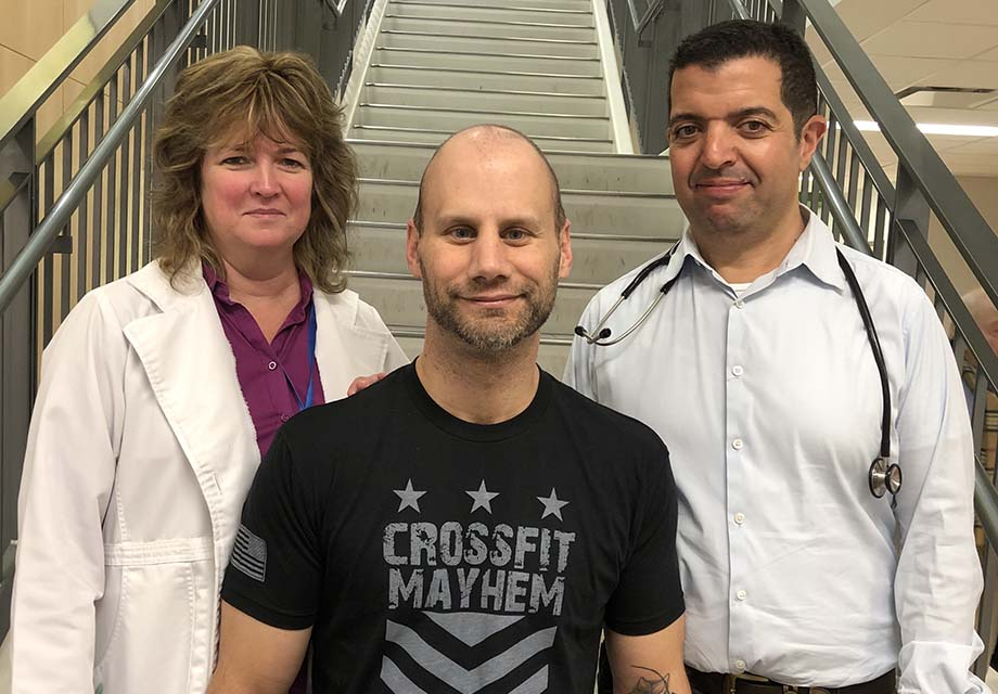 From left to right: Colleen Rooney, colorectal cancer pivot nurse; Ben Laekas and Dr Jamil Asselah, oncologist
