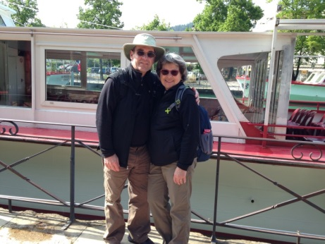 Gérard and his wife Johanne enjoy the scenic beauty of the Quai Napoléon III, in France.