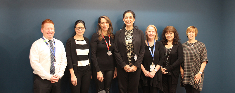 Some of the members of the team behind the Lachine Hospital modernization project. From left to right: Noé Djawn White, Ariane Couture, Samia Mostefai, Malika Cheloufi, Teresa Di Bartolo, Michèle Czerednikow and Dominique Daoust.