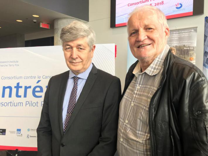 Stan Czebruk (right) with his physician, Dr. Catalin Mihalcioiu, medical oncologist at the MUHC and co-investigator on the Montreal Cancer Consortium.