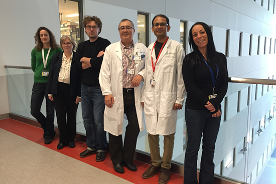 Study co-authors Dr. Jean-Pierre Routy (third from right) and Dr. Vikram Mehraj (second from right) with the team