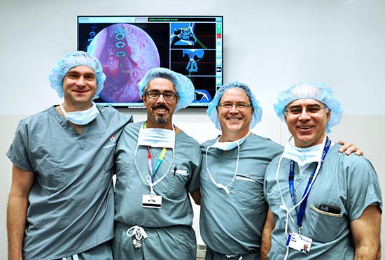 (From left to right) Bartosz Kosmecki (CEO & Founder Scopis), Dr. Marc Tewfik (MUHC director of Rhinology and assistant professor in the department of Otolaryngology at McGill University), Karl Ring (VP Sales Scopis), Dr. Nader Sadeghi (Chair and Chief of the McGill and MUHC Departments of Otolaryngology – Head & Neck Surgery)